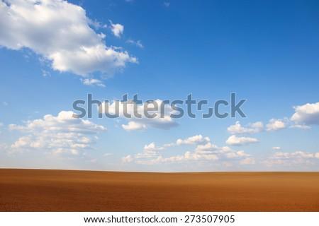 Agricultural soil landscape - stock photo