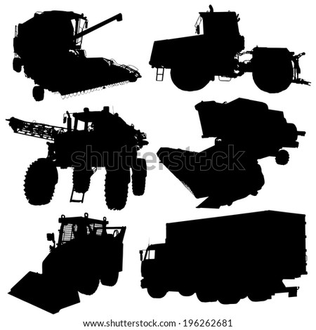 Agricultural vehicles silhouettes set.  illustration. - stock photo
