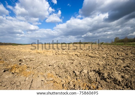 Agricultural view with dramatic sky