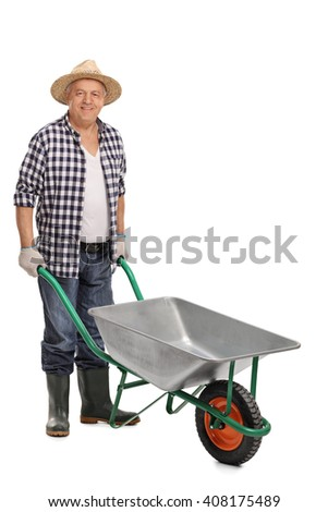 Agricultural worker posing with an empty wheelbarrow isolated on white background - stock photo