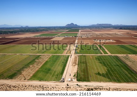 Agriculture aerial on the outskirts of Phoenix, Arizona - stock photo