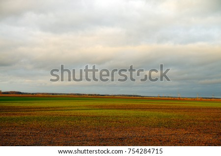 Agriculture landscape, flood in agriculture field.