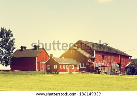 Agriculture Landscape With Old Barn  - stock photo