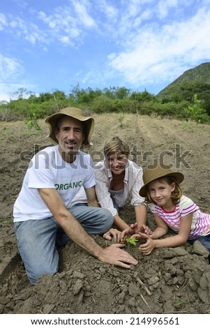 Agriculture or growth: Family of organic farmers planting seedling