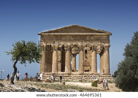 Agrigento, Italy - June 28, 2016: Temple of Concordia is an ancient Greek temple in the Valle dei Templi in Agrigento on the southern coast of Sicily. It is the largest and best-preserved Doric temple