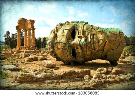 Agrigento, Sicily. Famous Valle dei Templi, UNESCO World Heritage Site. Greek temple, remains of the Temple of Castor and Pollux. - stock photo