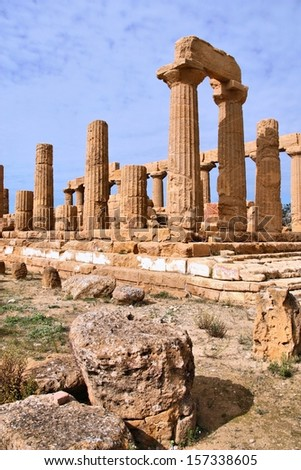 Agrigento, Sicily island in Italy. Famous Valle dei Templi, UNESCO World Heritage Site. Greek temple - remains of the Temple of Juno.