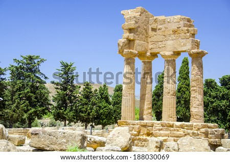 Agrigento, Sicily island in Italy. Famous Valle dei Templi, UNESCO World Heritage Site. Greek temple - remains of the Temple of Castor and Pollux. - stock photo