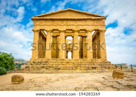 Agrigento, Sicily, Italy. Famous Valle dei Templi, UNESCO World Heritage Site. Greek temple - remains of the Temple of Concordia