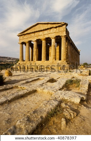 Agrigento, Valley of Temples, Concordia temple, Sicily, Italy - stock photo
