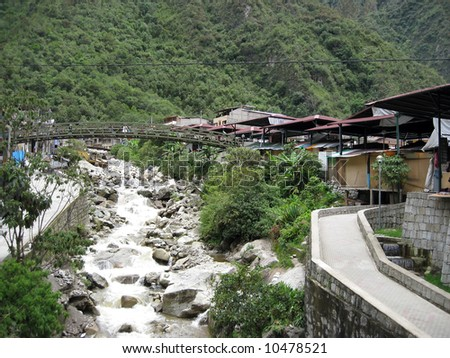 Aguas Calientes also called Machu Picchu town by the locals - stock photo