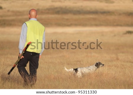Agustin Romain (pointer and english setter trainer) trains a pointer, focus on dog