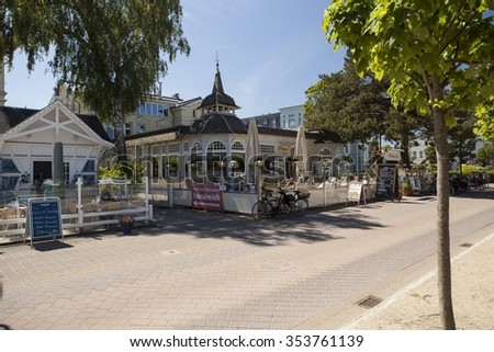 AHLBECK-GERMANY-JUNI 20: Ahlbeck at Baltic Sea on Usedom Island,Mecklenburg- Vorpommern,Germany. Ahlbeck is on the route of the longest promenade on the Baltic Sea.  - stock photo
