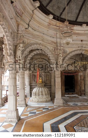 AHMEDABAD, GUJARAT, INDIA - AUGUST 21 : Hutheesing Jain Temple on August 21, 2012 in Ahmedabad. Dome on a deity in the basement, situated in one corner of 'Rangamandapa' hall for musical performance.