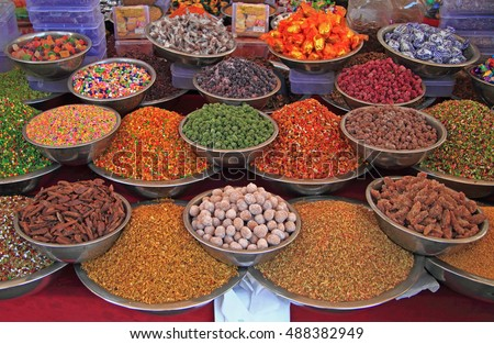 AHMEDABAD, INDIA - FEBRUARY 26, 2015: stall with spicery on the street market in Ahmedabad, India