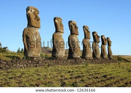 Ahu Akivi on Easter Island - stock photo
