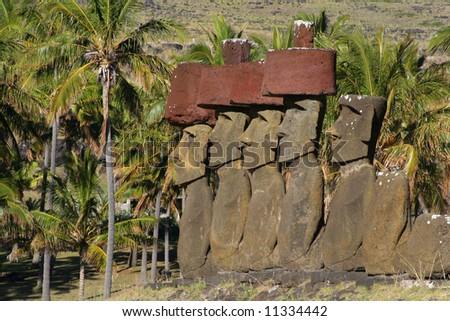 Ahu Nau Nau at Anakena Beach, Easter Island - stock photo
