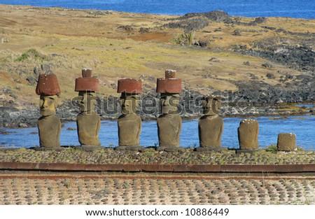 Ahu Nau Nau on Easter Island - stock photo