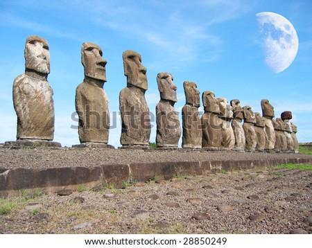 Ahu Tongariki. Moais of Easter Island - stock photo