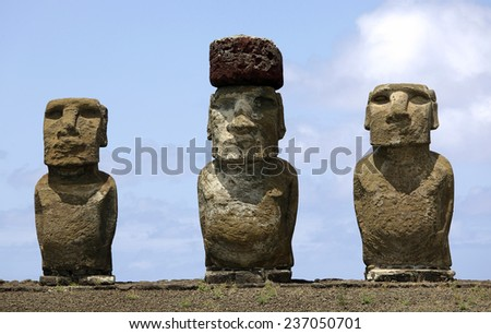 Ahu Tongariki - the largest ahu on Easter Island. - stock photo