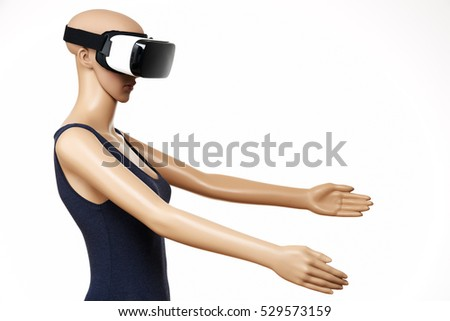 AI, Mannequin with virtual reality glasses on white background