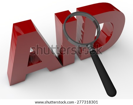 AID - 3 Text with magnifier over white Background - stock photo