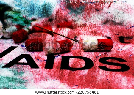 AIDS concept on grunge background - stock photo
