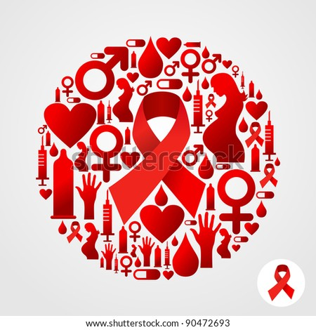AIDS icon set in circle shape. - stock photo