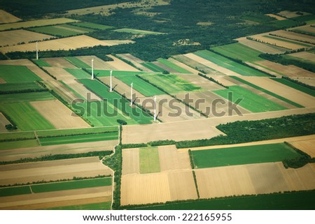 Aierial view from the plane - stock photo