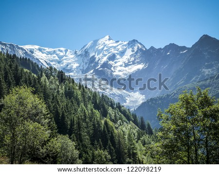 Aiguille du Bionnassay above the Glacier du Bionnassay, French Alps - stock photo