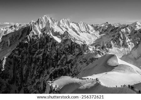 Aiguille du Midi - Skiing Adventure - Monochrome - stock photo