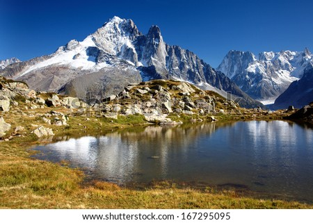 Aiguille Verte and Grandes Jorasses, Mont Blanc massif, French Alps - stock photo