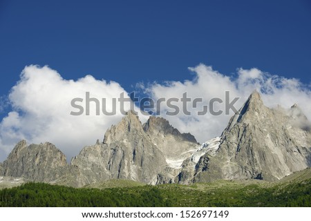 Aiguilles du Chamonix, Mont Blanc Massif, Alps, France - stock photo