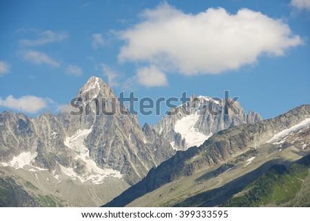 Aiguilles du Chamonix, Mont Blanc Massif, Alps, France. - stock photo