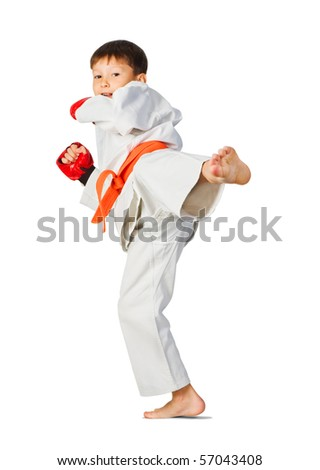 aikido boy - stock photo