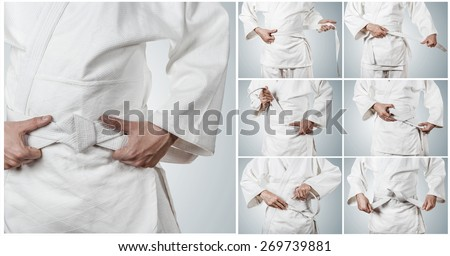 Aikidoka belt tying step by step pictures - stock photo