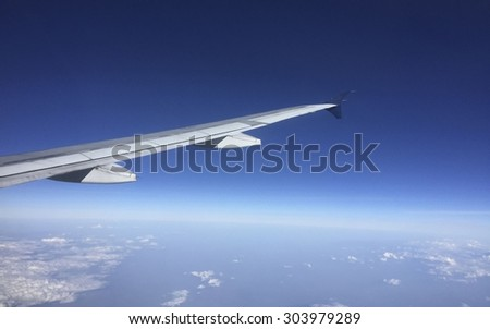 Ailerons and flaps tucked flat in airplane wing at cruise speed and altitude