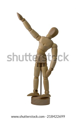 Aim high shoot low : mannequin wooden doll isolated on white background - stock photo