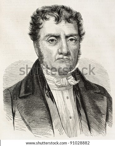 Aime Jacques Alexandre Goujaud Bonpland old engraved portrait, French botanist and explorer. Created by Marc, published on L'Illustration, Paris, 1858 - stock photo