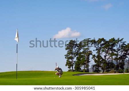 aiming golfer lining up putt on green - stock photo