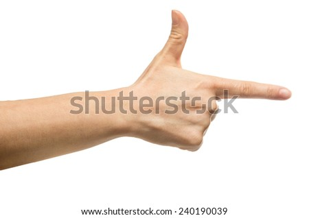 Aiming hand sign - stock photo