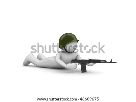 Aiming Soldier in Ambush (3d isolated characters on white background series) - stock photo