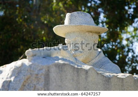 aiming soldier statue - stock photo
