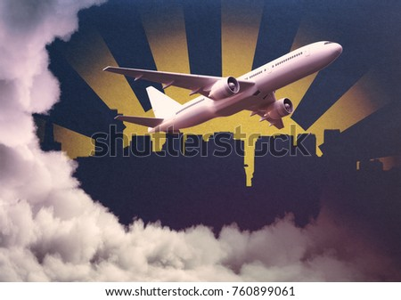 Aiplane on abstract cloudy city background. Travel and vacation concept. 3D Rendering