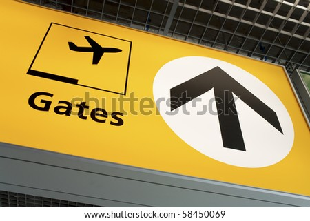 Aiport fight departure gate sign - stock photo