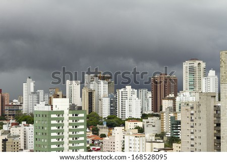 Air and panoramic views in rainy day in Belo Horizonte city, capital of Minas Gerais state, Brazil,