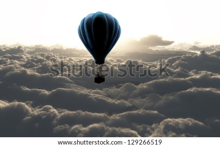 air balloon on sky with beautiful clouds - stock photo