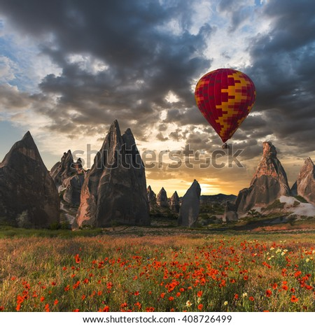 air balloon over poppies field Cappadocia, Turkey - stock photo
