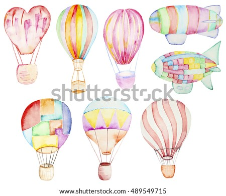 Air balloons collection. Watercolor illustration on a white. Zeppelin Watercolor Illustration