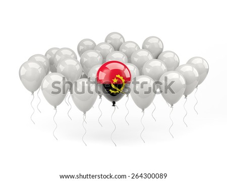Air balloons with flag of angola isolated on white